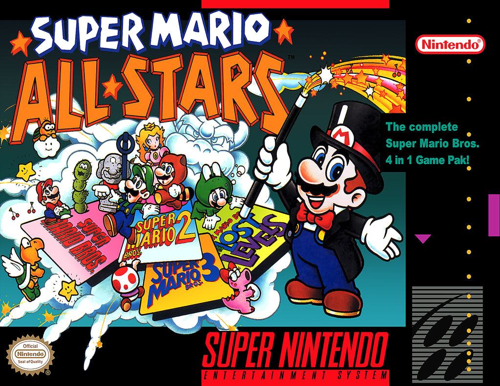 "Super Mario All Stars (SNES) - ""Box Art"" - Acrylic Print - 8.5 x 11"
