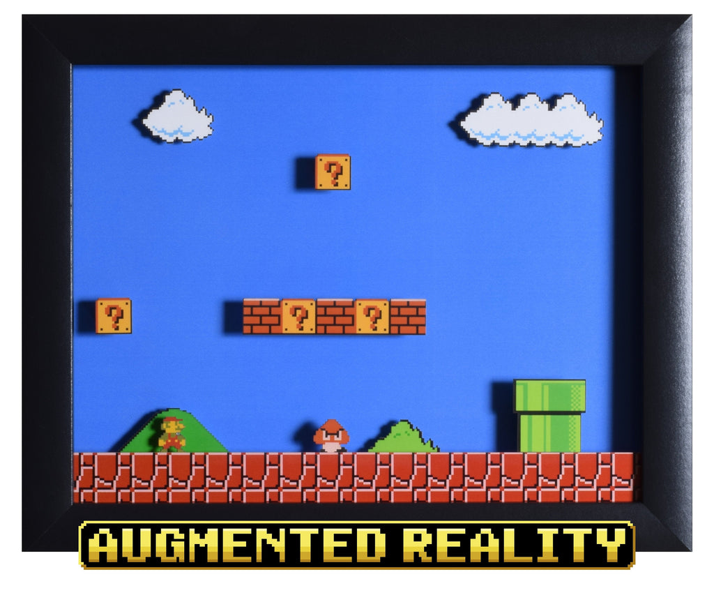 "Super Mario Bros (NES) - ""1-1"" - 3D AR Shadow Box"