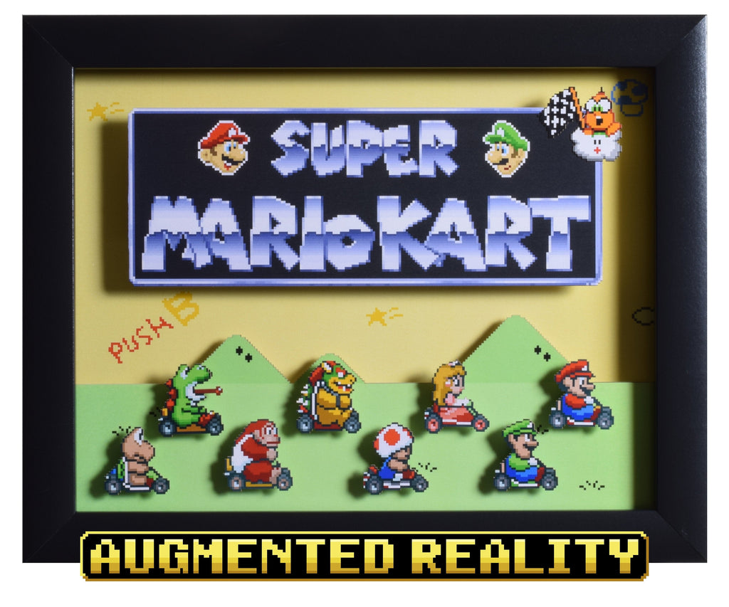 "Super Mario Kart (SNES) - ""Title Screen"" - 3D AR Shadow Box"