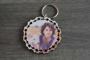 Wood Key Ring - Round with Hearts - But Why Not - Photo Gifts