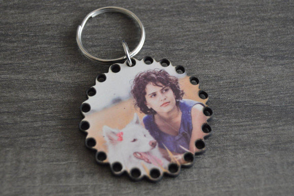 Wood Key Ring - Round with Dots - But Why Not - Photo Gifts