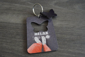 Wood Key Ring with Cutout - Butterfly - But Why Not - Photo Gifts