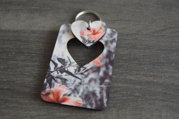 Wood Key Ring with Cutout - Heart - But Why Not - Photo Gifts