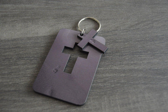 Wood Key Ring with Cutout - Cross - But Why Not - Photo Gifts