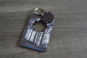Wood Key Ring with Cutout - Flower