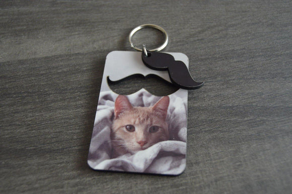 Wood Key Ring with Cutout - Moustache