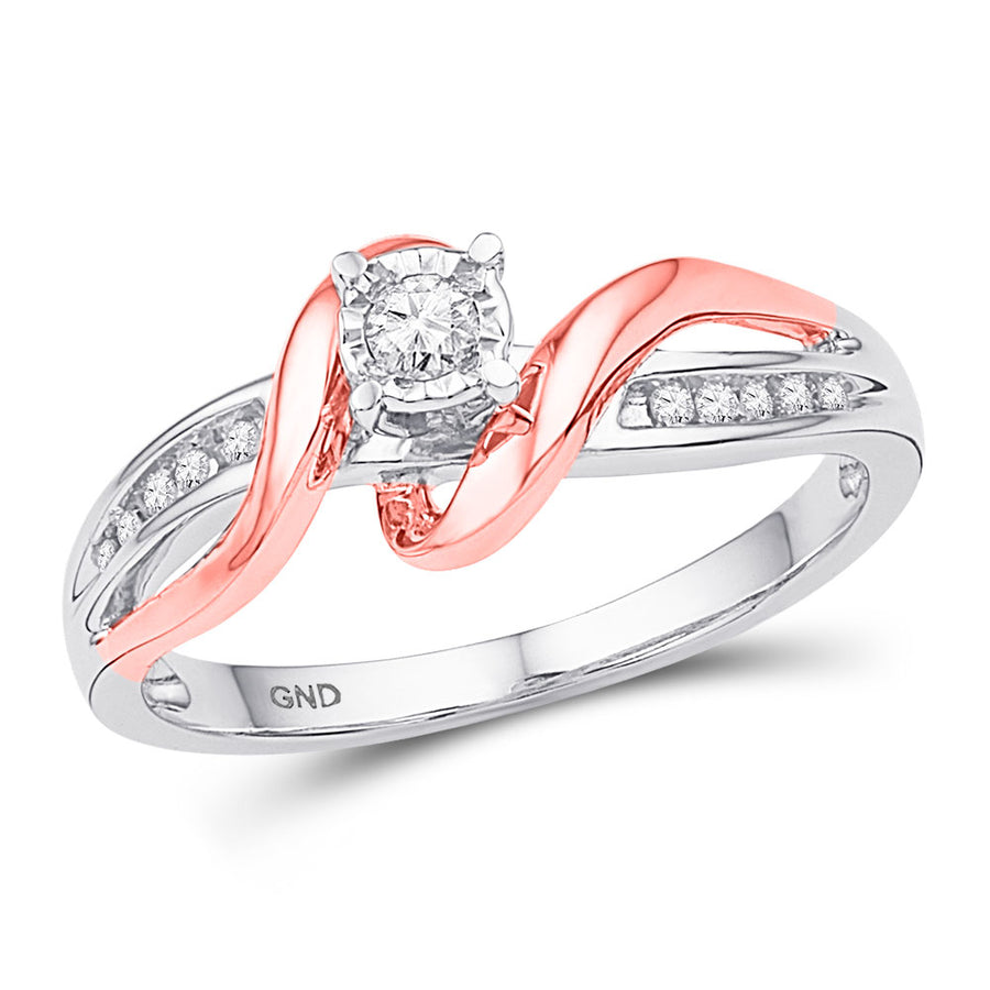 10kt White & Rose-tone Gold Round Diamond Solitaire Bridal Wedding Engagement Ring 1/8 Cttw