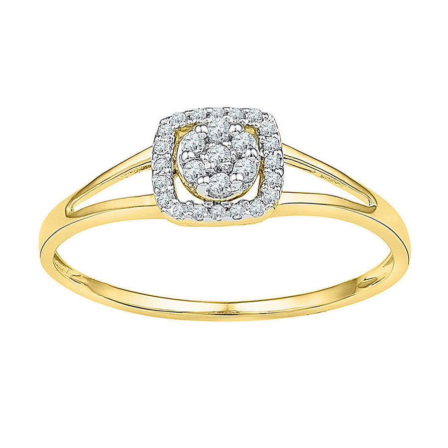 10kt Yellow Gold Womens Round Diamond Square Frame Cluster Ring 1/10 Cttw