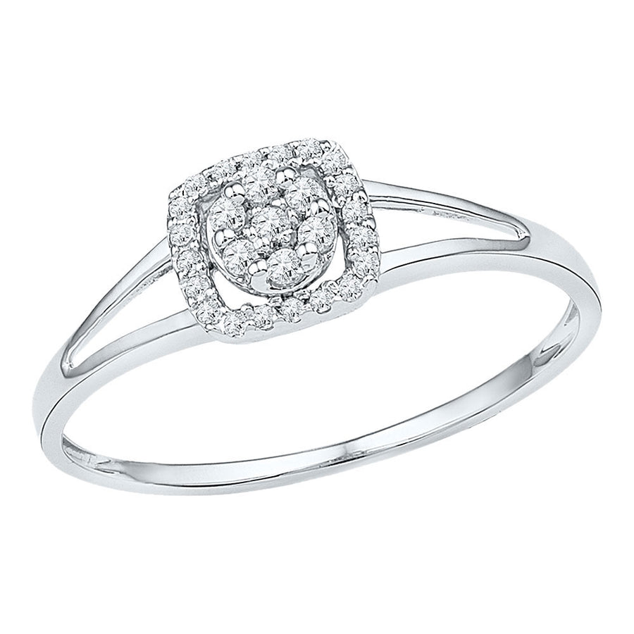 10kt White Gold Womens Round Diamond Square Frame Cluster Ring 1/10 Cttw