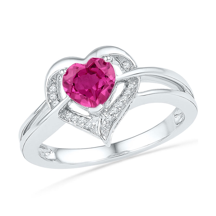 Sterling Silver Womens Round Lab-Created Pink Sapphire Heart Diamond Ring 1 Cttw