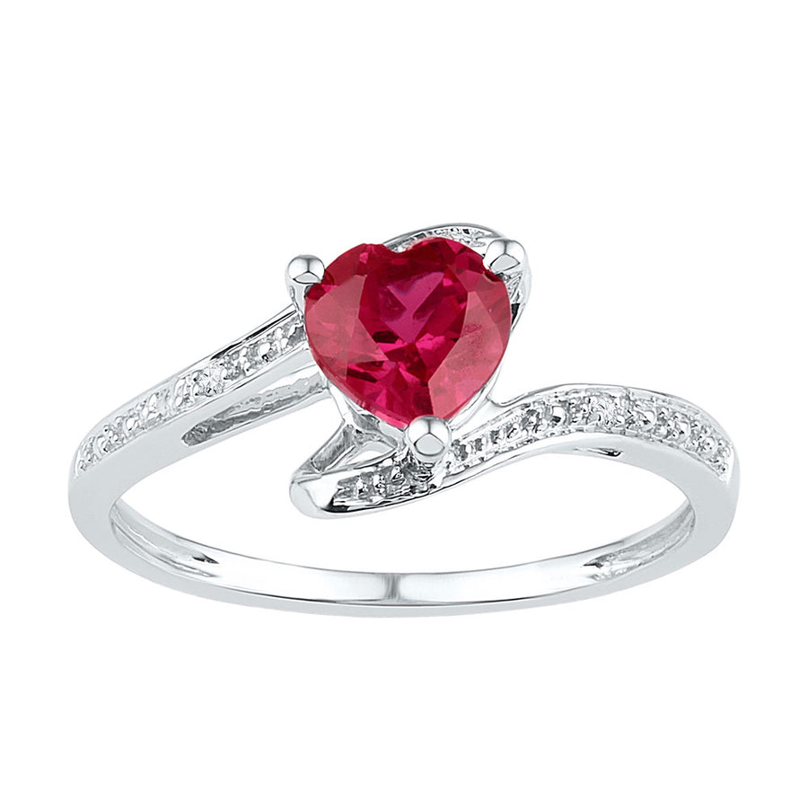 Sterling Silver Womens Heart Lab-Created Ruby Solitaire Diamond Ring 1 Cttw