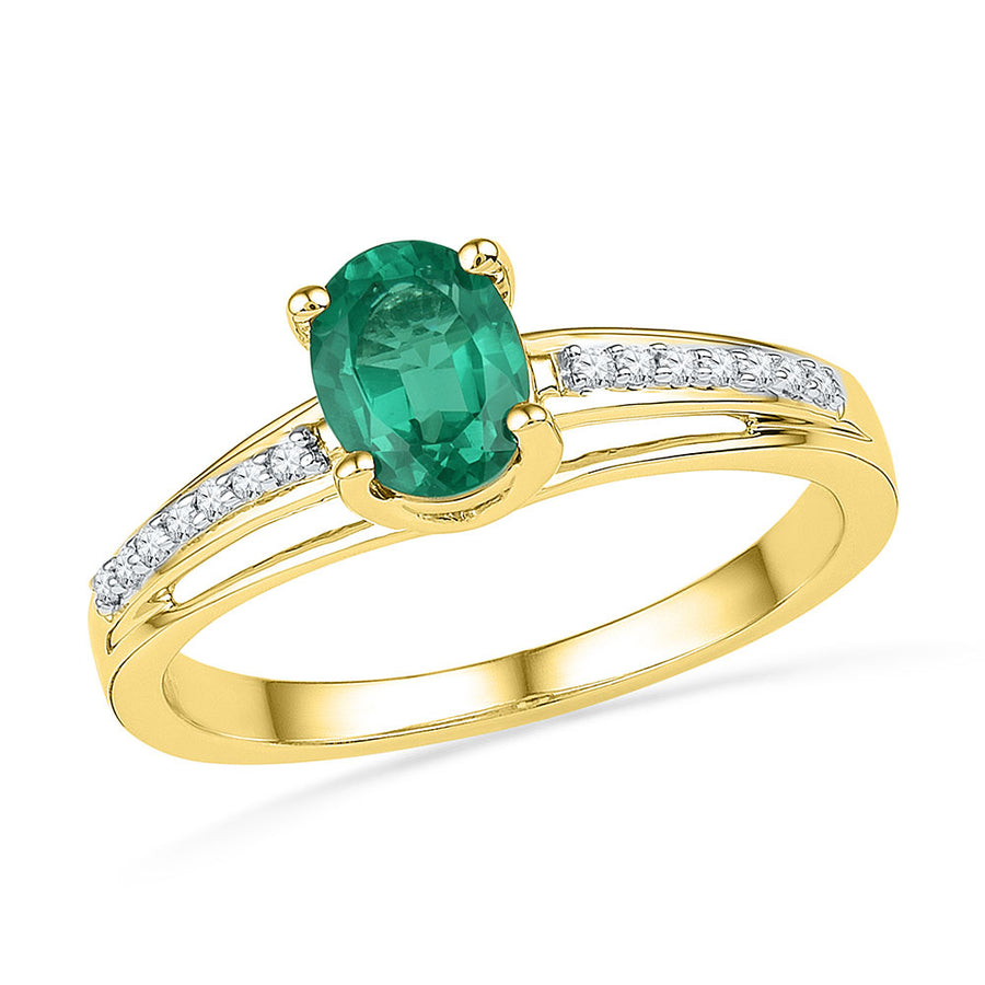10kt Yellow Gold Womens Oval Lab-Created Emerald Solitaire Ring 1/12 Cttw