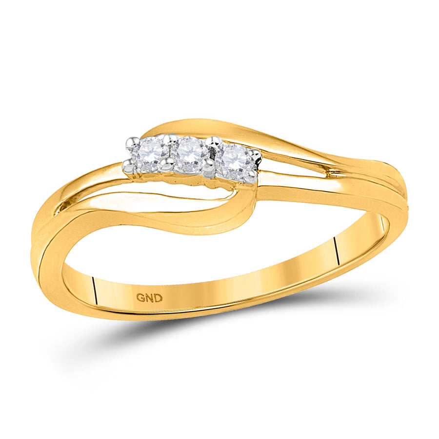 10kt Yellow Gold Round Diamond 3-stone Bridal Wedding Engagement Ring 1/10 Cttw