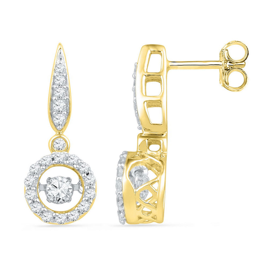 10kt Yellow Gold Womens Round Diamond Moving Twinkle Dangle Earrings 5/8 Cttw