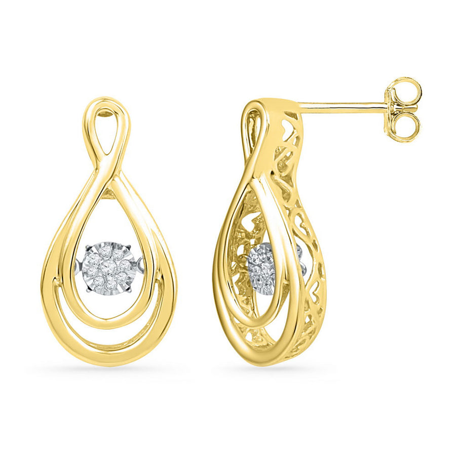 10kt Yellow Gold Womens Round Diamond Moving Twinkle Teardrop Earrings 1/20 Cttw