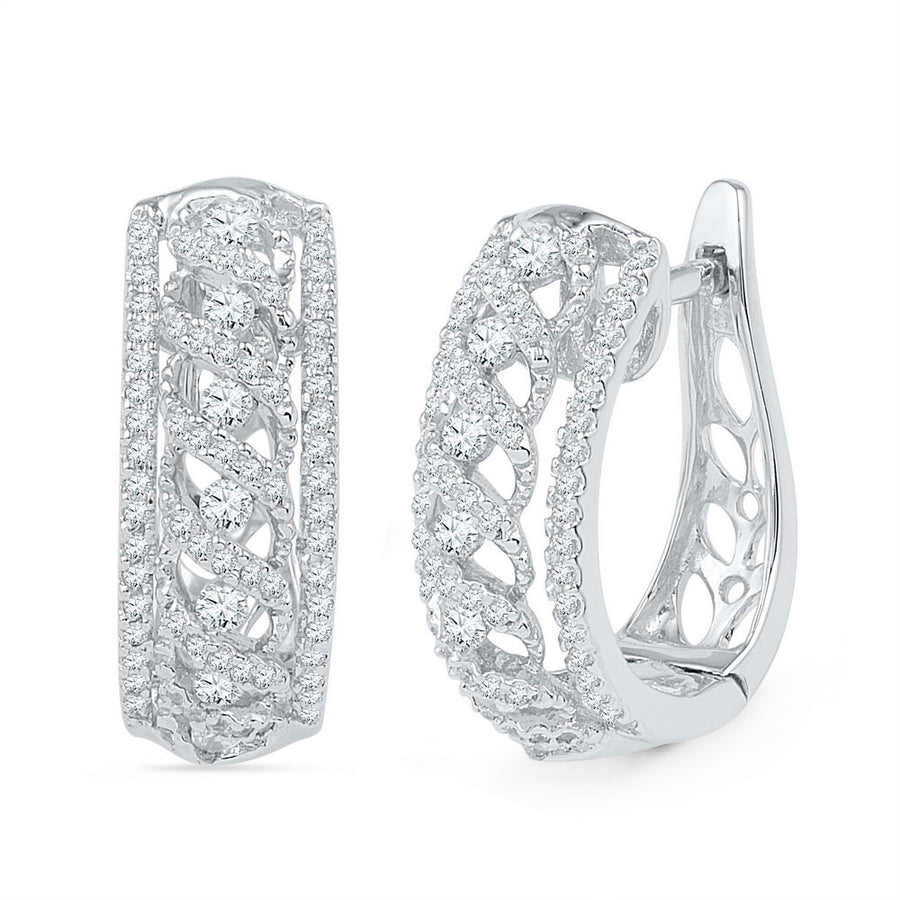 10kt White Gold Womens Round Diamond Crisscrossed Openwork Hoop Earrings 3/4 Cttw
