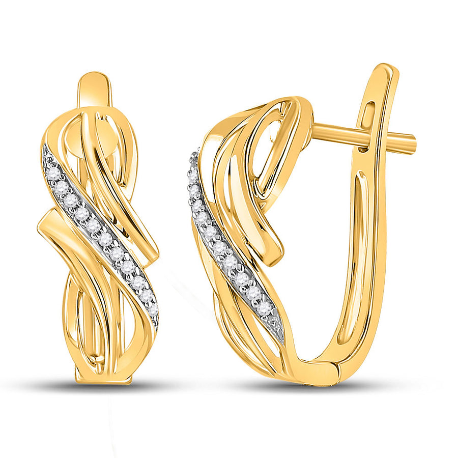 10kt Yellow Gold Womens Round Diamond Bypass Crossover Hoop Earrings 1/12 Cttw