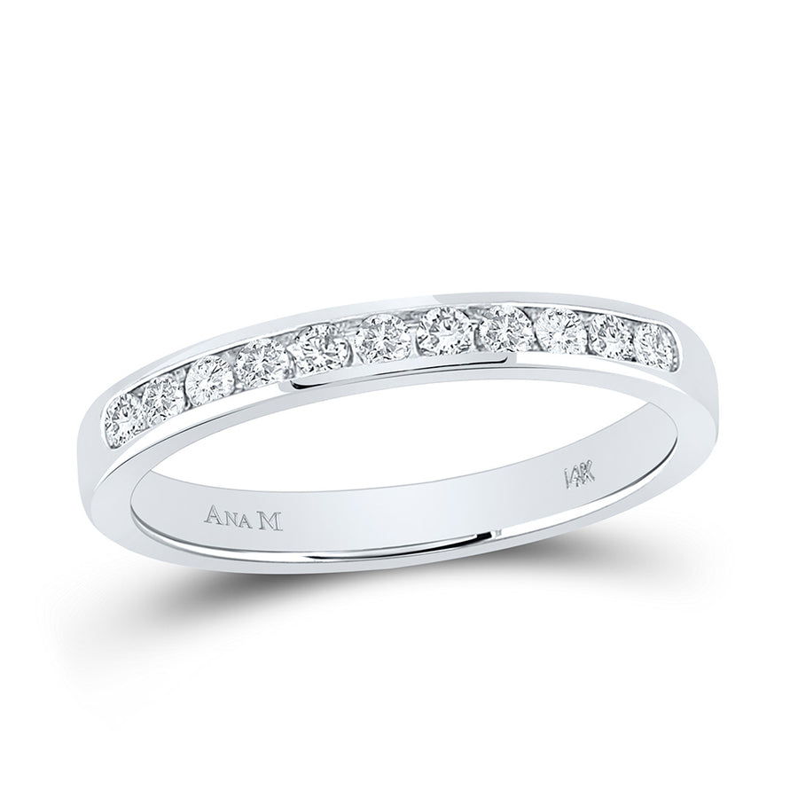 14kt White Gold Womens Round Diamond Wedding Band Ring 1/4 Cttw
