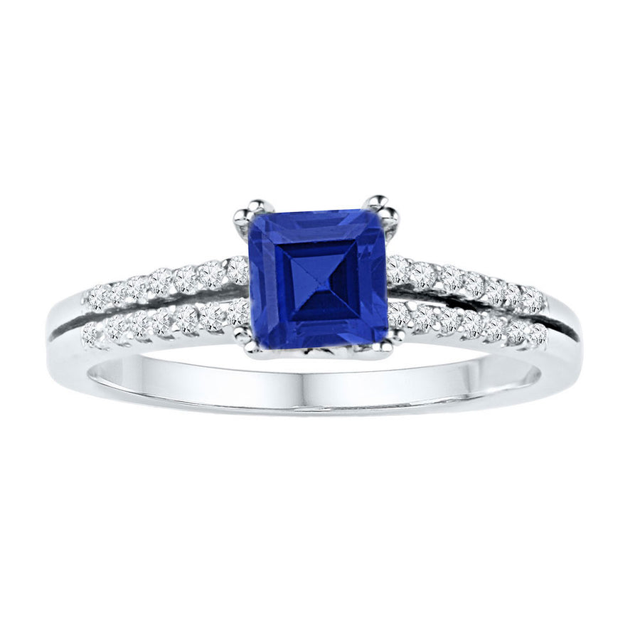 10kt White Gold Womens Princess Lab-Created Blue Sapphire Solitaire Ring 1 Cttw
