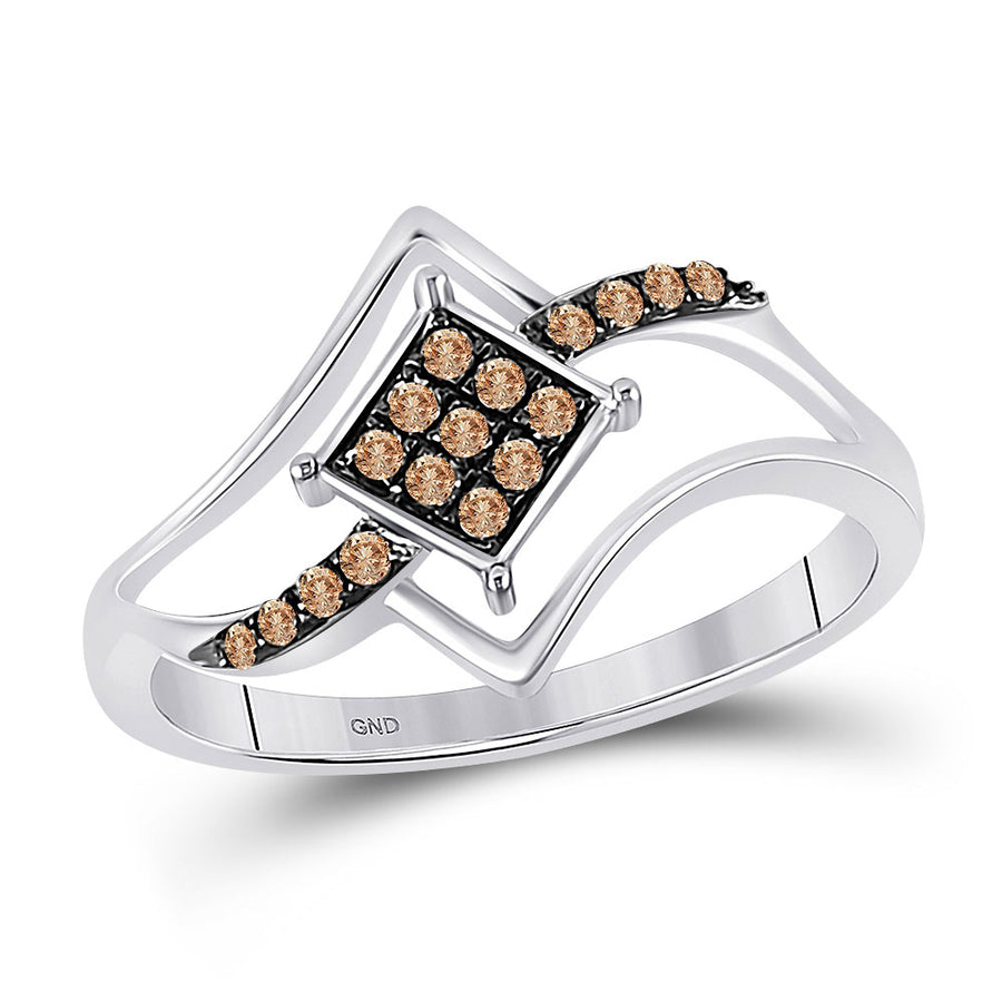 10kt White Gold Womens Round Brown Diamond Square Cluster Ring 1/6 Cttw