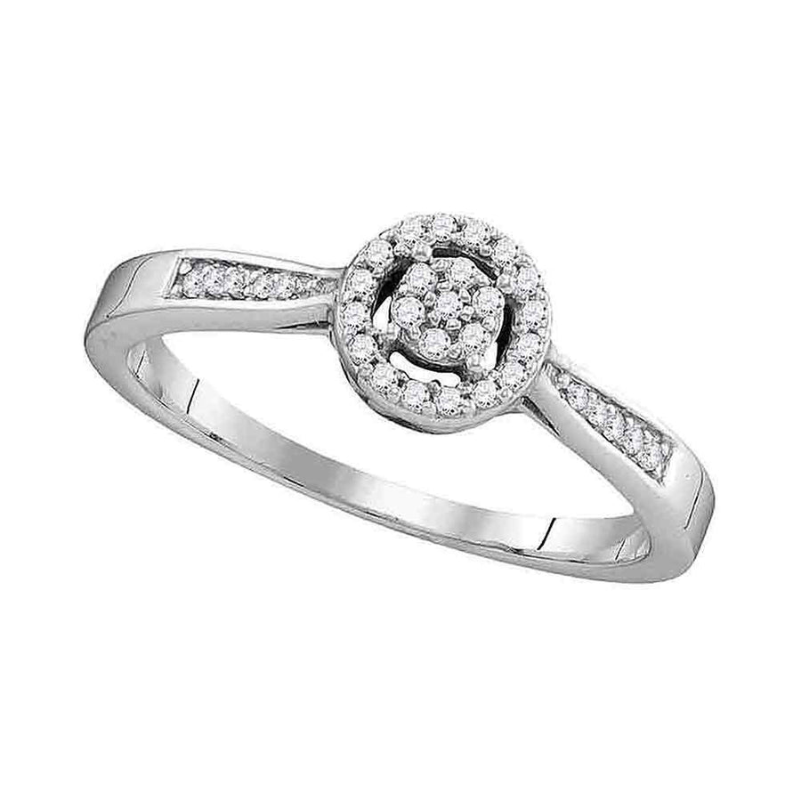 10kt White Gold Round Diamond Cluster Bridal Wedding Engagement Ring 1/8 Cttw