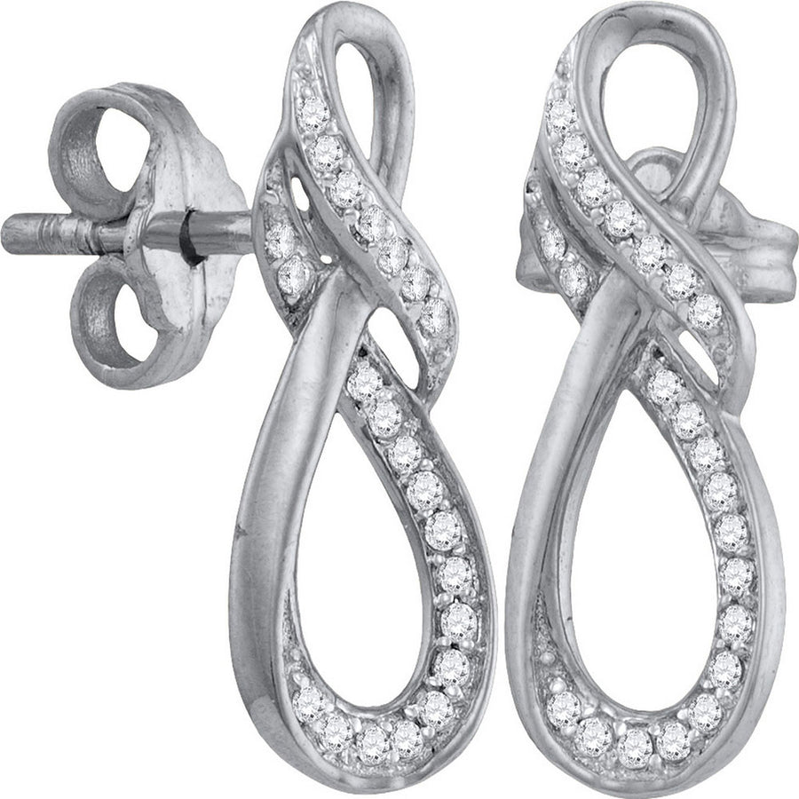 10kt White Gold Womens Round Diamond Fashion Earrings 1/6 Cttw