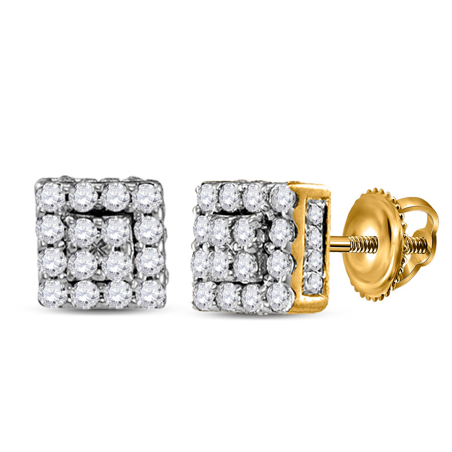 10kt Yellow Gold Womens Round Diamond Square Cluster Earrings 1/3 Cttw