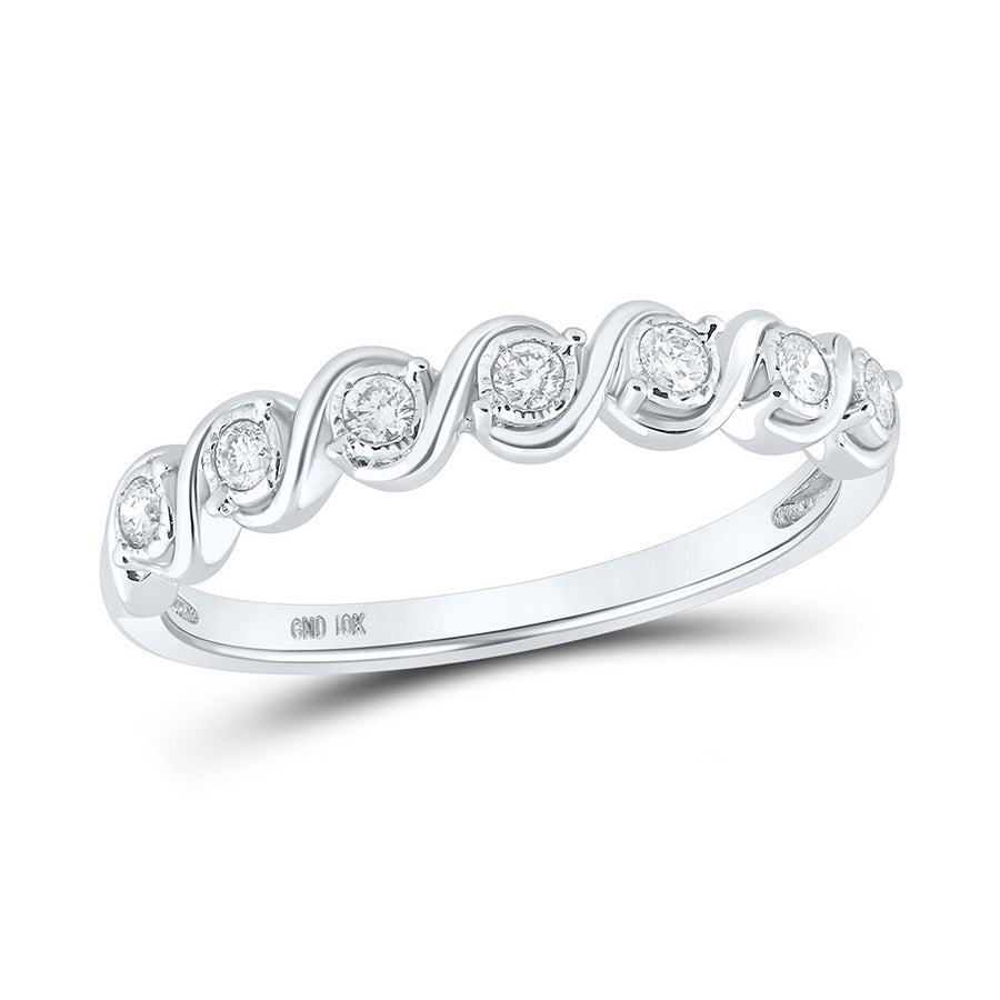 10kt White Gold Womens Round Diamond Band Ring 1/6 Cttw