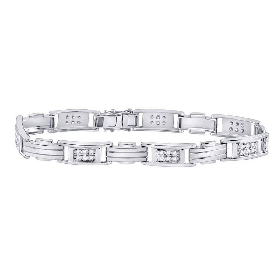 10kt White Gold Mens Round Diamond Rectangle Link Fashion Bracelet 1 Cttw