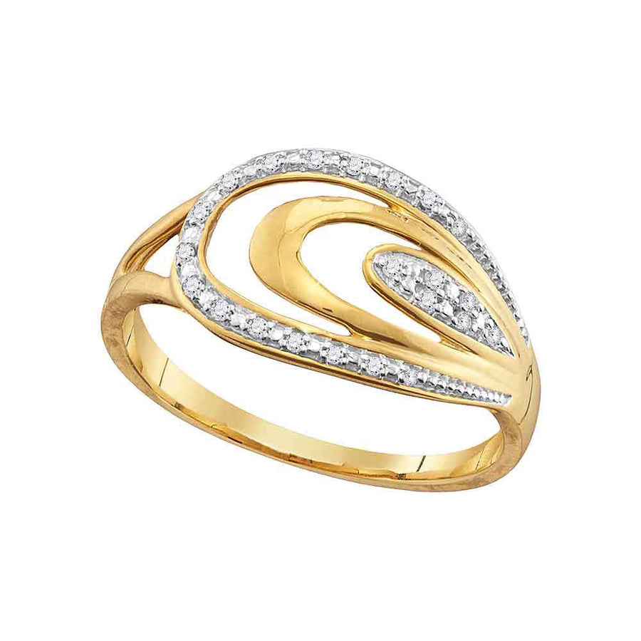 10kt Yellow Gold Womens Round Diamond Oval Fashion Ring 1/20 Cttw