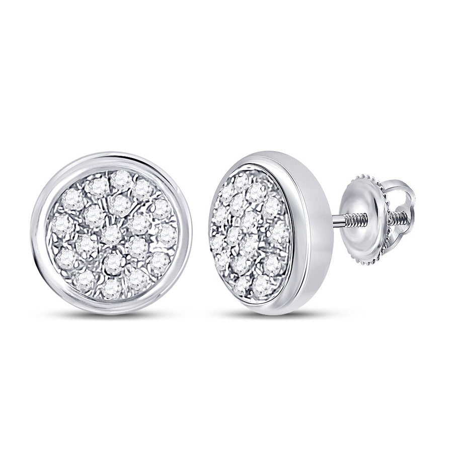 10kt White Gold Womens Round Diamond Concentric Cluster Earrings 1/10 Cttw