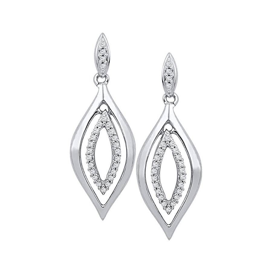 10kt White Gold Womens Round Diamond Double Oval Dangle Earrings 1/6 Cttw