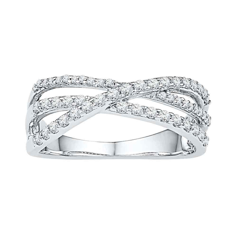 10kt White Gold Womens Round Diamond Triple Strand Crossover Band 1/2 Cttw