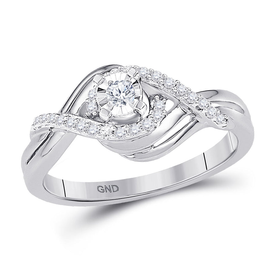 10kt White Gold Round Diamond Solitaire Bridal Wedding Engagement Ring 1/5 Cttw