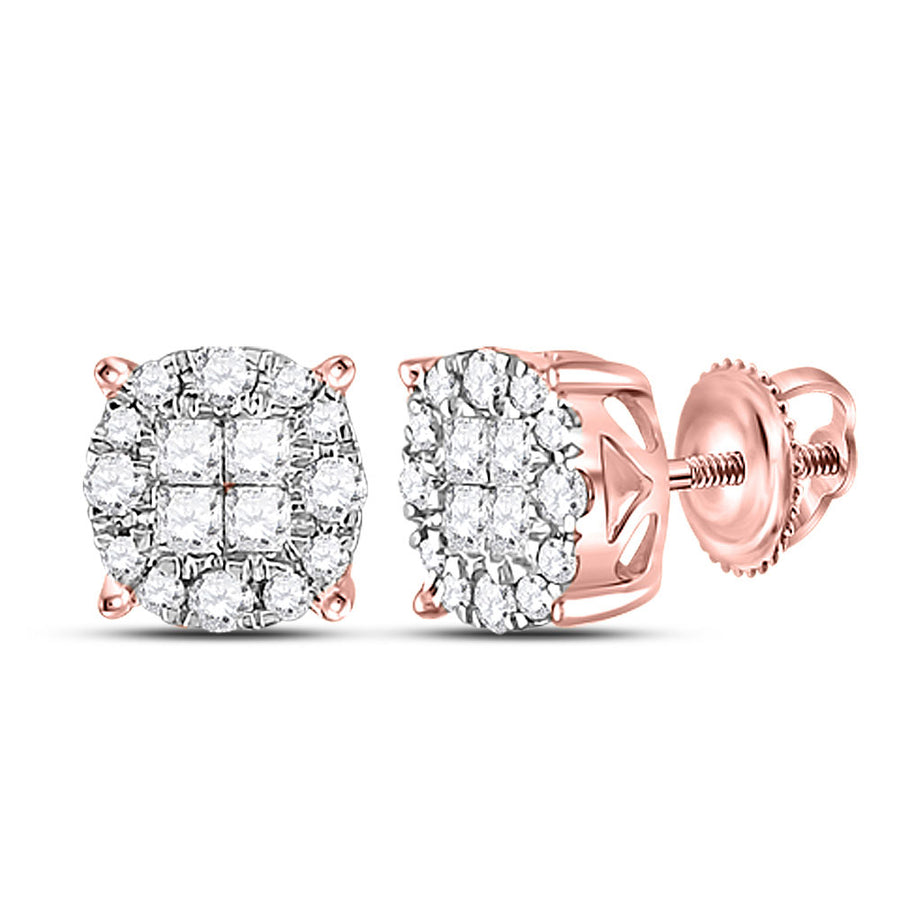14kt Rose Gold Womens Princess Round Diamond Fashion Cluster Earrings 1/4 Cttw