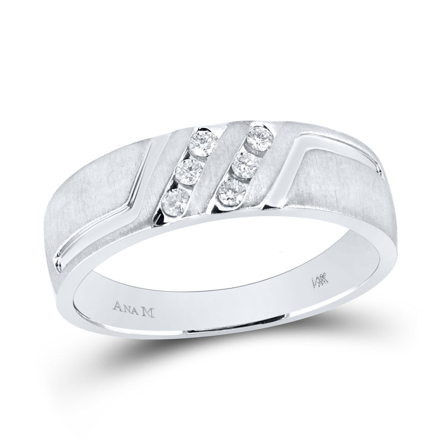 14k White Gold Mens Round Diamond Wedding Anniversary Band Ring 1/6 Cttw
