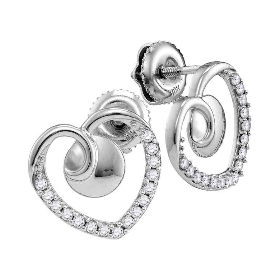 10kt White Gold Womens Round Diamond Heart Earrings 1/4 Cttw