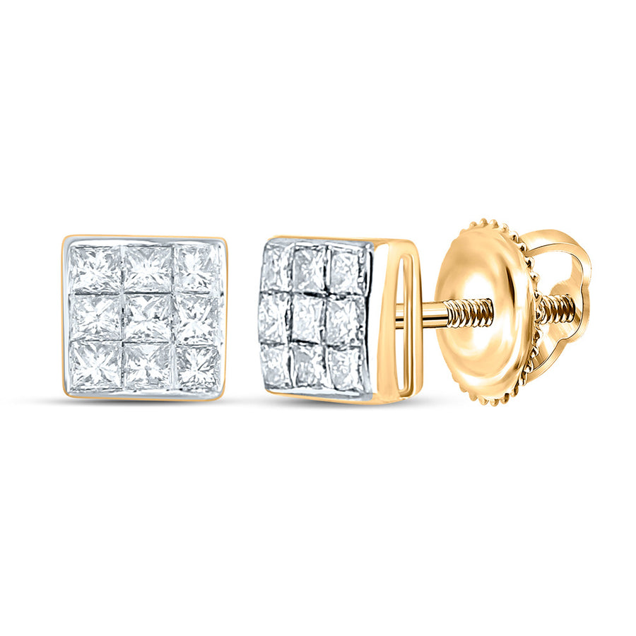 14kt Yellow Gold Womens Princess Diamond Square Earrings 1/4 Cttw