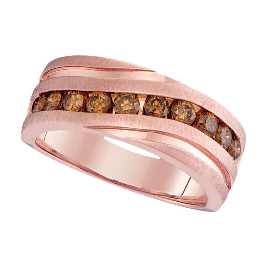 10kt Rose Gold Mens Round Diamond Wedding Single Row Grooved Band Ring 1 Cttw