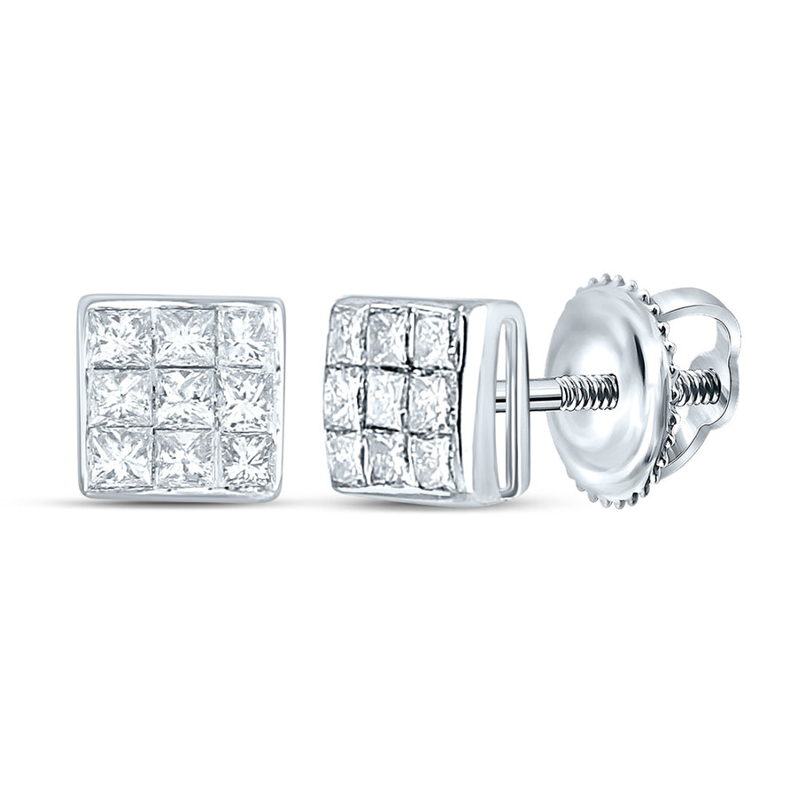 14kt White Gold Womens Princess Diamond Square Earrings 1/4 Cttw