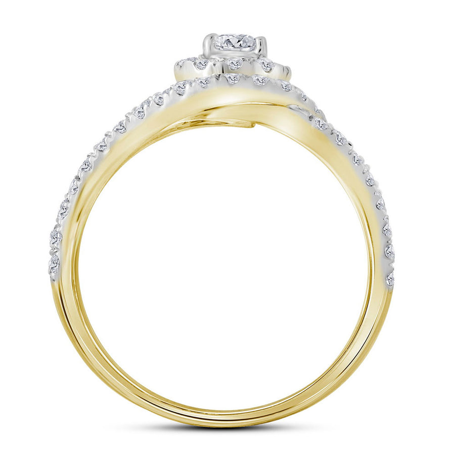 14kt Yellow Gold Round Diamond Bridal Wedding Ring Band Set 1-1/4 Cttw