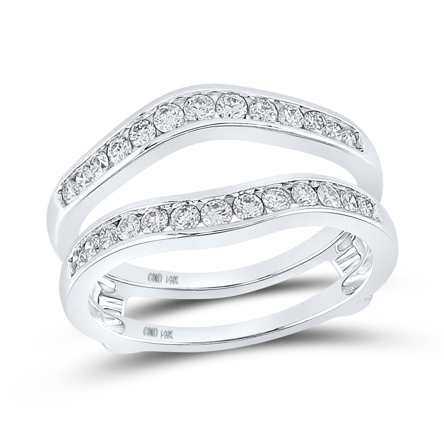 14k White Gold Womens Round Diamond Bridal Wedding Enhancer Band Wrap Ring 1/2 Cttw
