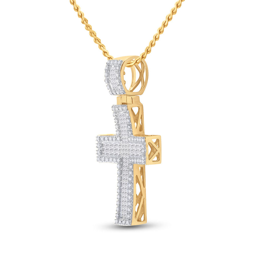 10kt Yellow Gold Mens Princess Diamond Cross Charm Pendant 1 Cttw