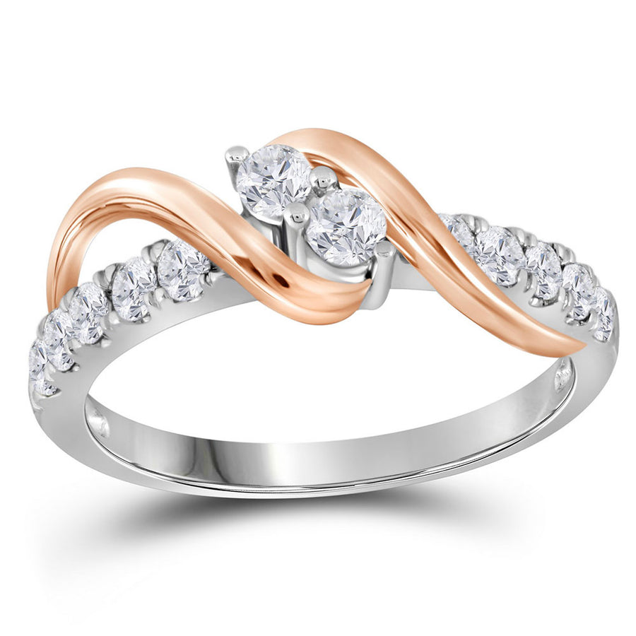 14kt Two-tone Gold Round Diamond 2-stone Bridal Wedding Engagement Ring 1/2 Cttw