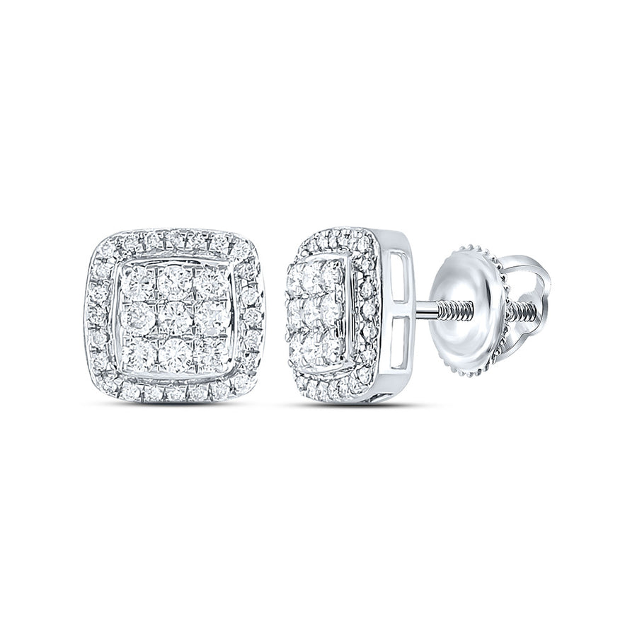 10kt White Gold Womens Round Diamond Square Cluster Earrings 1/2 Cttw