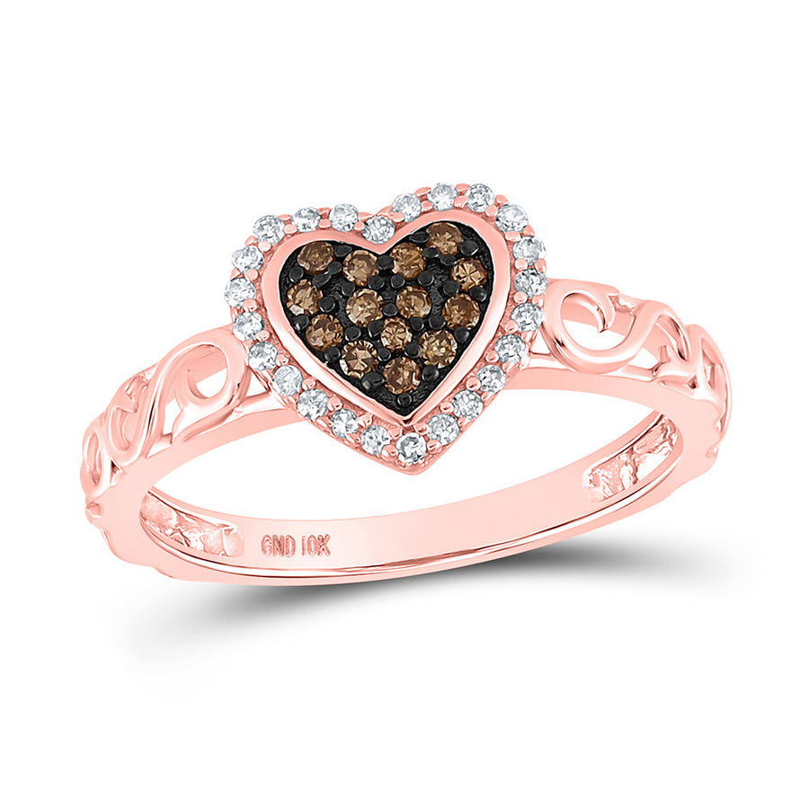 10kt Rose Gold Womens Round Brown Diamond Heart Ring 1/4 Cttw