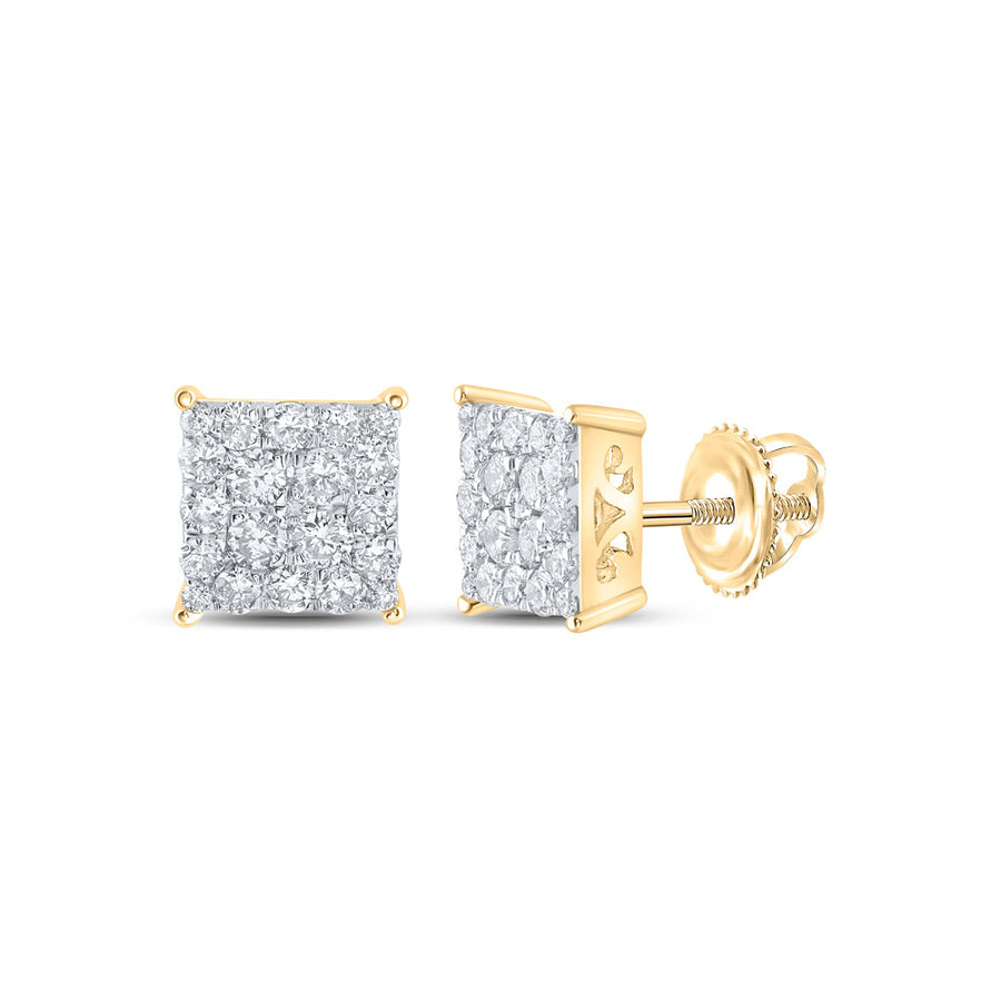 10kt Yellow Gold Womens Round Diamond Square Cluster Stud Earrings 1 Cttw