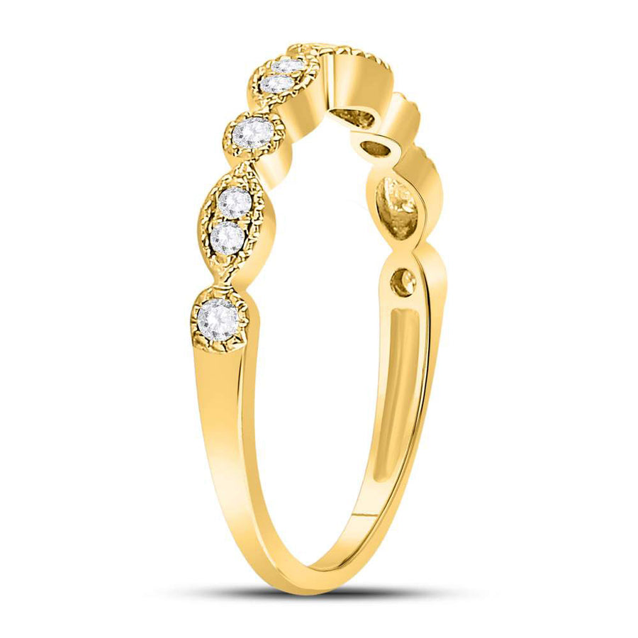 10kt Yellow Gold Womens Round Diamond Marquise Dot Stackable Band Ring 1/6 Cttw