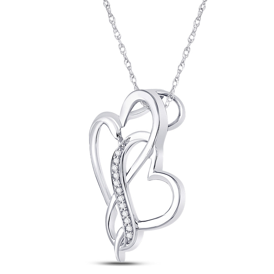 Sterling Silver Womens Round Diamond Entwined Heart Pendant 1/20 Cttw