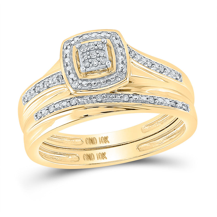 10kt Yellow Gold His Hers Round Diamond Square Matching Wedding Set 1/12 Cttw
